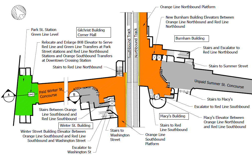 A map of Downtown Crossing with stairs and elevators labeled, and descriptions of elevator upgrades.