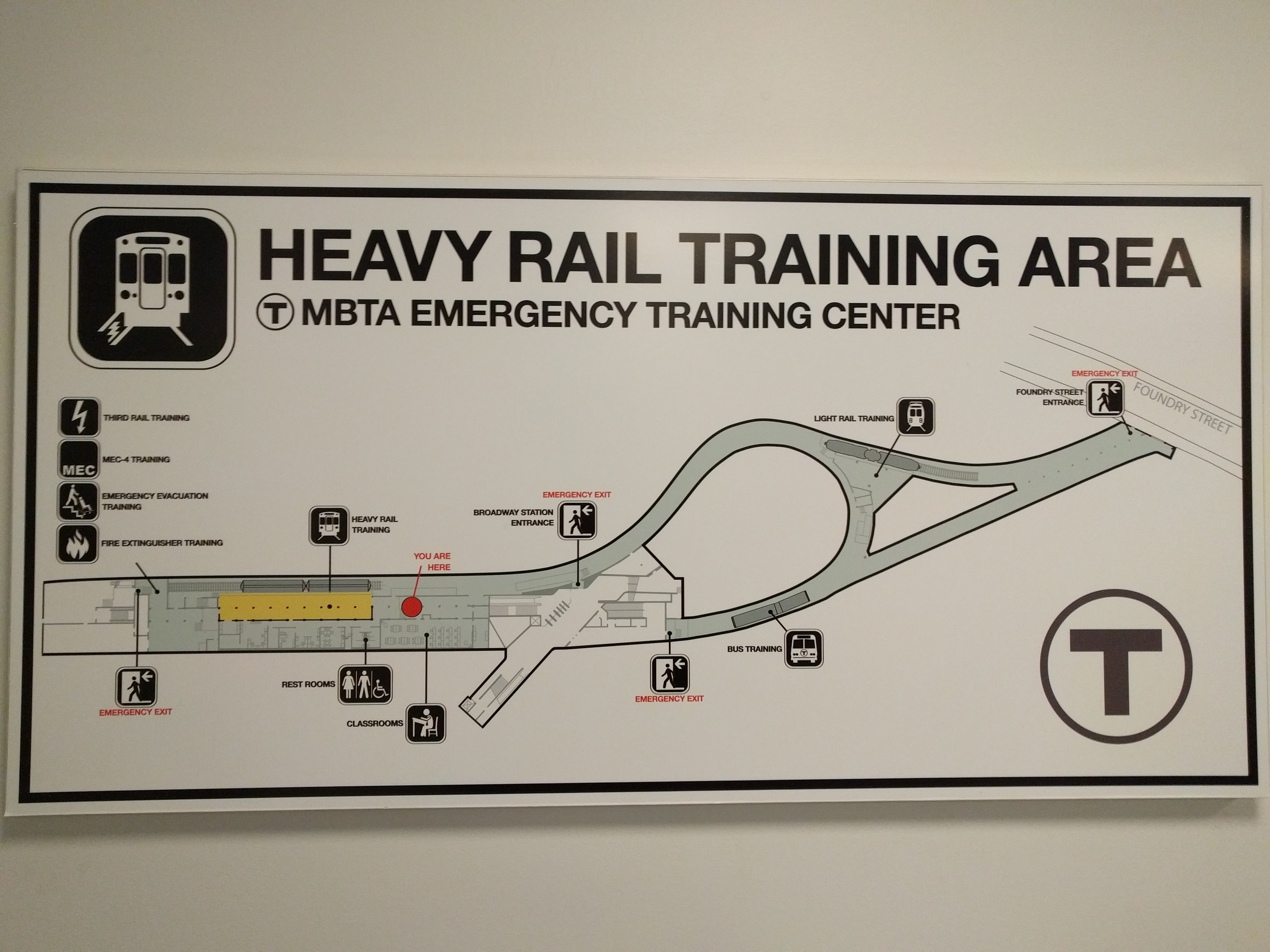 A scale map of the emergency training center, with icons showing different training areas. The tunnels clearly used to be a loop of track for trains to turn around.