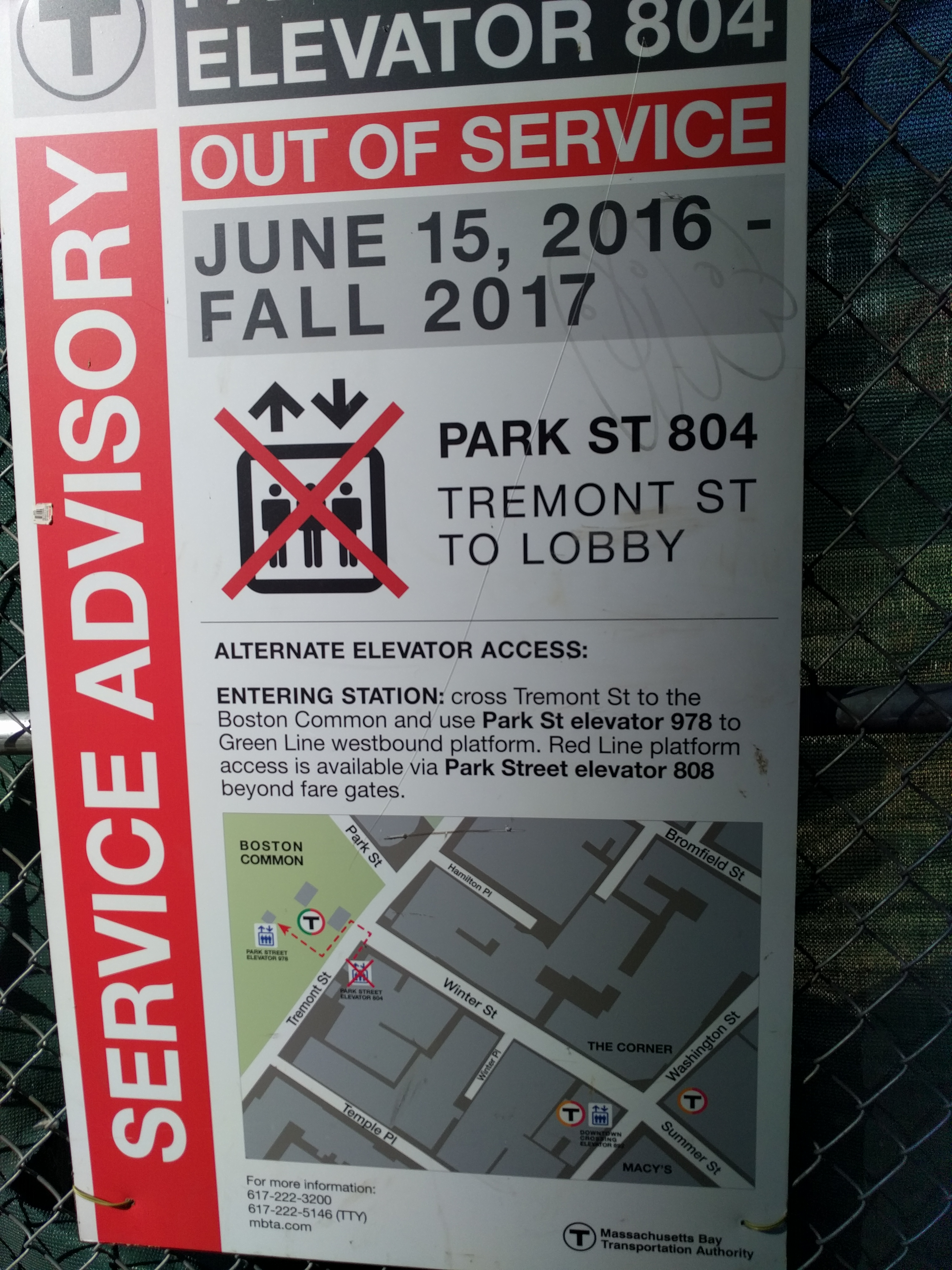 A service advisory poster. Elevator 804 out of service June 15, 2016 through Fall 2017. There's a street map with elevators and station entrances marked for Park and Downtown Crossing. One elevator is crossed out.