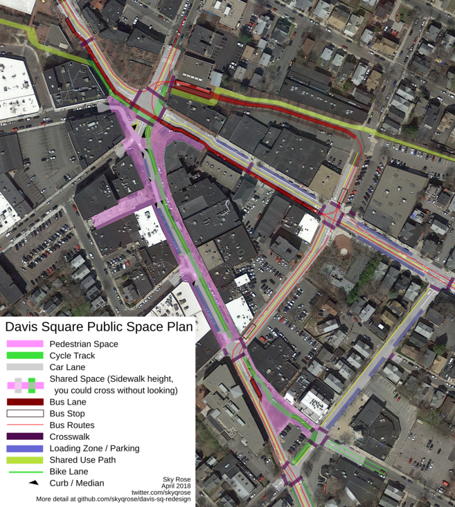 A map of Davis Square showing new pedestrian space, bike lanes, and bus lanes.