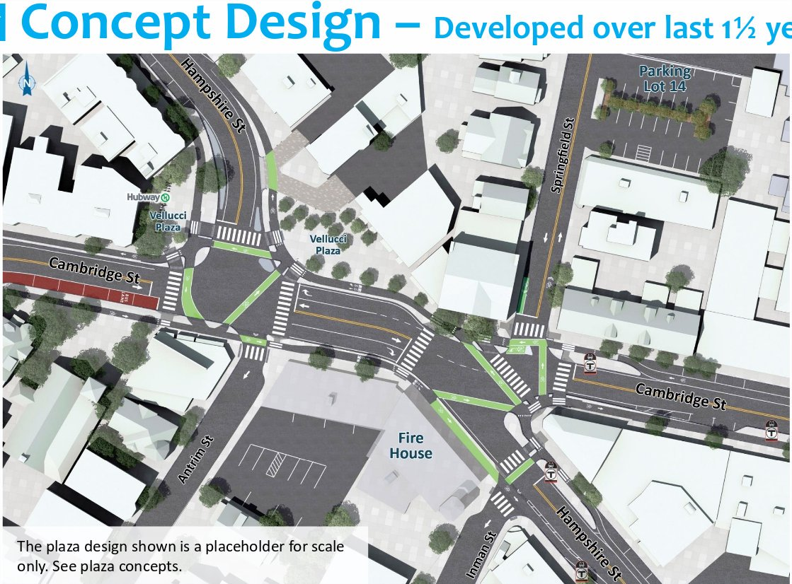 A drawing of the plan for Inman Square showing protected bike lanes and a relocated Velucci Plaza